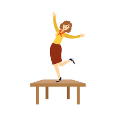 Happy young woman, businesswoman dancing on the table at corporate party in office, flat cartoon vector illustration isolated on white background. Pretty young woman dancing at corporate party