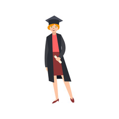 vector flat female college, university happy graduate character, red-haired girl in graduation gown, cap holding diploma smiling. Isolated illustration on a white background.