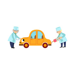 vector flat doctor mechanic, grey-haired man in medical clothing holding stethoscope going to treat smiling yellow car character testing lungs, another doctor making injection. Isolated illustration