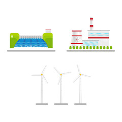 vector flat renewable, alternative energy icon set. Hydroelectric dam, wind turbine and nuclear reactor power plants. Isolated illustration on a white blue abstract background.