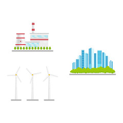 vector flat renewable, alternative energy icon set. Windmill or wind turbine, nuclear reactor power plants and modenr urban city with green park. Isolated illustration on a white abstract background.