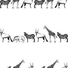Seamless vector pattern of hand drawn sketch style African animals.