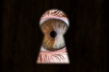 Women's brown eye looking through the keyhole. Concept of voyeurism, curiosity, Stalker, surveillance and security