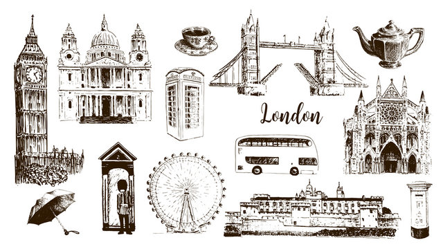 London symbols: Big Ben, Tower Bridge, bus, guardsman, mail box, call box. St. Paul Cathedral, tea, umbrella, westminster.