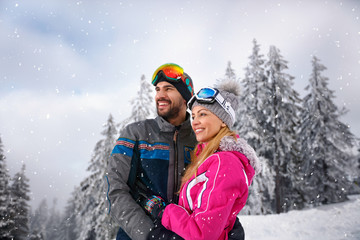 Couple in love on skiing