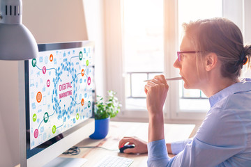 Woman using computer, digital marketing technology concept on screen, email