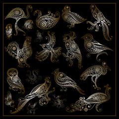 Graphic illustration of different birds_set 1