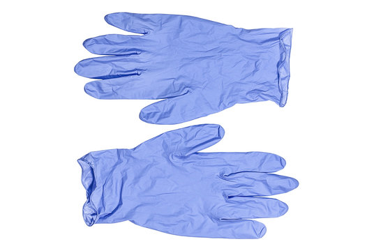 Light blue medical latex gloves isolated on a white background