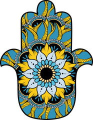Hamsa with round ethnic pattern