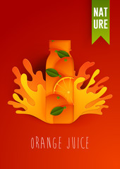 Orange juice bottle with spray isolated on background . Packaging vector