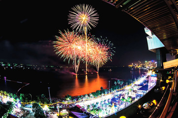 show of fireworks in the night sky,A picture of a beautiful fireworks celebration on a black background, city,New Year's Celebration 2018