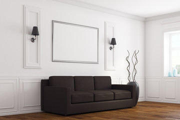 Modern white living room side