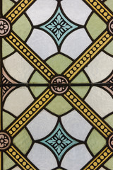 Stained glass detail of colors