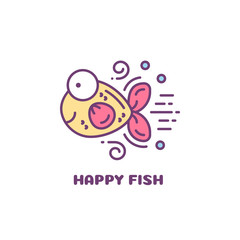 Yellow fish with pink fins and tail. Line style logo