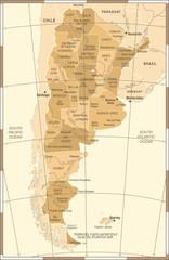Argentina Map - Vintage Vector Illustration