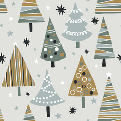 Vector seamless pattern with textured Christmas trees. Modern and original festive textile, gift wrap, wall art design.