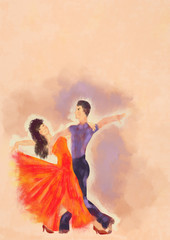 Dancers. Painting on canvas. Bacground