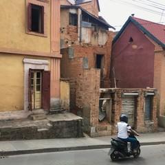 Motorcycling in the street of Antananarivo, capital of Madagascar