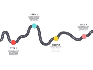 Infographic Template. Four steps asphalt road diagram with pin-pointers. Vector EPS 10