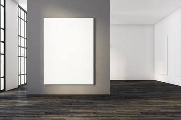 Bright concrete interior with whiteboard
