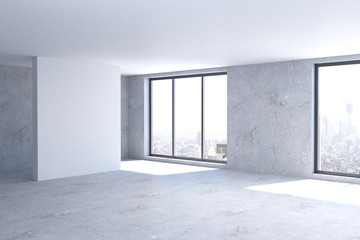 Creative room with empty wall