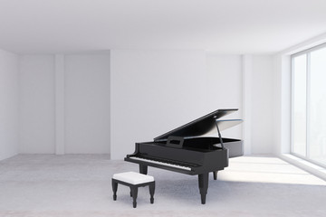 Concrete room with piano