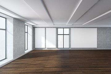 Modern room with empty whiteboard