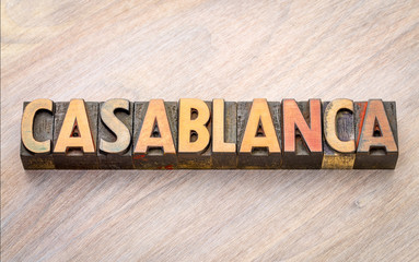 Casablanca word abstract in wood type