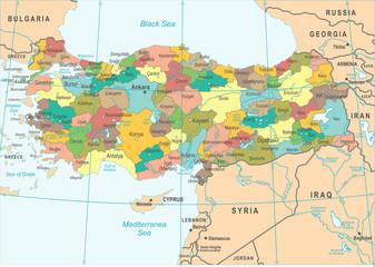 Turkey Map - Vector Illustration