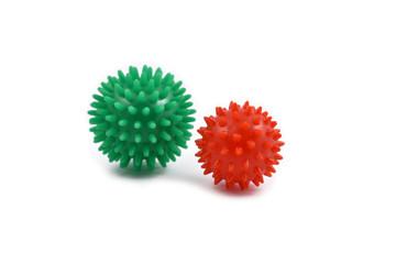 Massage ball stock images. Massage balls on a white background. Spiky massage balls