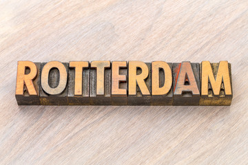 Rotterdam word abstract in wood type