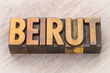 Beirut, capital of Lebanon,  word abstract in wood type