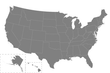 High quality map United States with borders of the regions