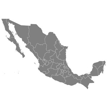 High quality map Mexico with borders of the regions