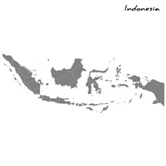 High quality map Indonesia with borders of the regions