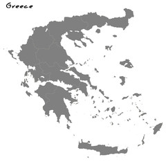 High quality map Greece with borders of the regions