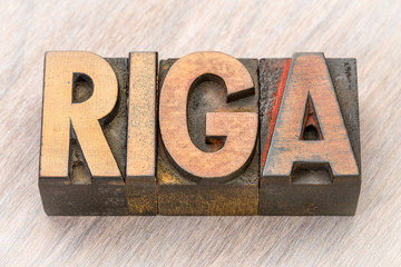 Riga word abstract in wood type