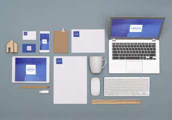 Devices, Stationery, Business Cards and Desk Accessories Mockup
