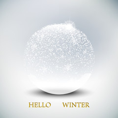 Christmas snow globe on winter background. Snowflakes are falling, vector illustration