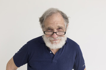 Portrait smiling older Caucasian man with beard