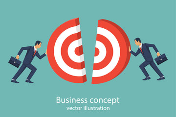 Business concept. Two businessmen pushing target. Team works to reach goal. Vector illustration flat style design. Connecting piece part. Symbol of working together, cooperation, partnership.
