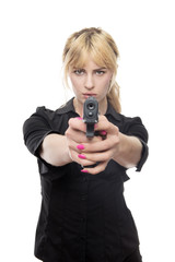 business woman with a hand gun