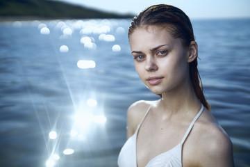 Portrait of Caucasian woman in ocean