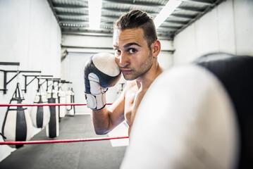 Portrait of Hispanic boxer