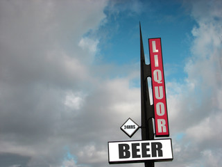 liquor and beer sign with clouds