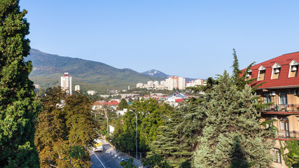 Alushta city from Baglikov Street in morning