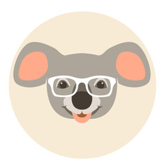 bear koala face in glasses vector illustration flat style front
