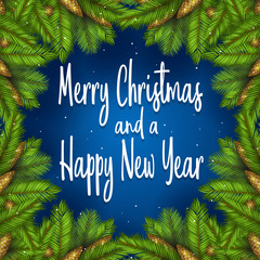 Decorative christmas and new year background with retro text