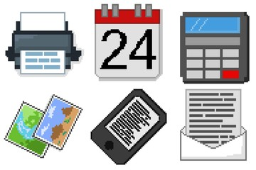 icons office pixel art