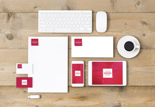 Stationery, Keyboard and Devices on Wooden Table Mockup 1